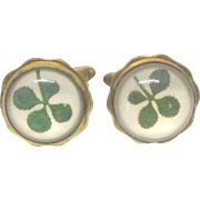 Vintage Four Leaf Clover Cuff Links by Hickok USA