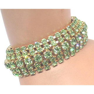 Stunning Weiss Peridot Green Rhinestone Bracelet