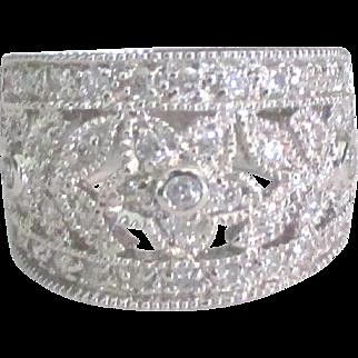 Elegant Wide Sterling CZ Floral Band Ring- Size 6 3/4
