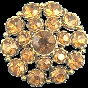 Sparkling Vintage Weiss Amber Rhinestone Brooch