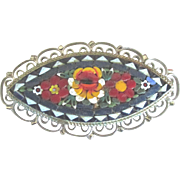 Vintage Italian Blue Floral Micro Mosaic Brooch