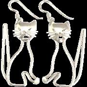 Charming Whimsical Sterling Kitty Pierced Earrings