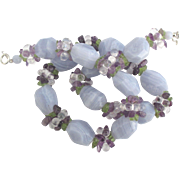 Beautiful Blue Lace Agate Necklace with Amethyst and Peridot Bead Clusters