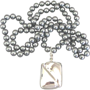 Lovely Sterling Perfume Bottle Gray Glass Pearl Necklace