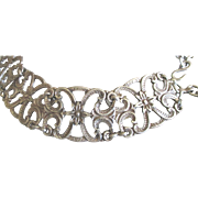 Vintage Chunky Ornate Swirls Silver Tone Belt
