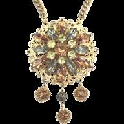 Bold Glittering Vintage Emmons Lavalier Gold Tone Necklace