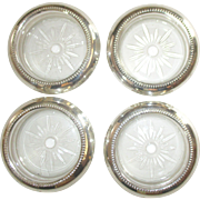 Vintage Sterling Crystal Coasters- Set of 4