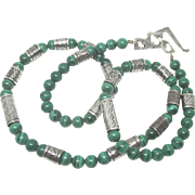 Stunning Vintage Sterling Malachite Necklace with Artistic Clasp