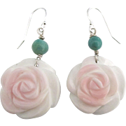 Vintage Carved Rose Pierced Earrings with Turquoise Beads