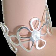 Bold Vintage Sterling Flower Power Cuff Bracelet