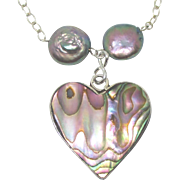 Vintage Sterling Abalone and Fresh Water Pearl Pendant Necklace