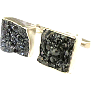 Vintage Artistic Sterling Mineral Geode Cuff Links