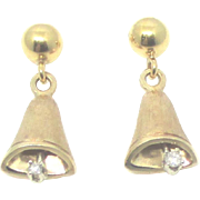 Charming 14K Diamond Bell Pierced Earrings