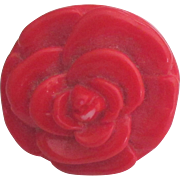 Pretty Chunky Red Rose Ring- Size 6 1/2
