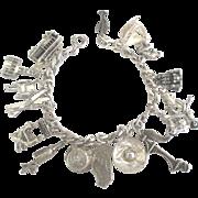 Vintage Sterling California Theme Bracelet- Scarce Movable Charms