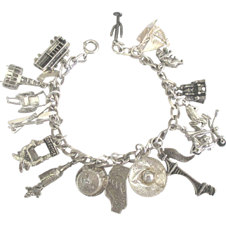 Vintage Sterling California Theme Bracelet- Scarce Movable Charms