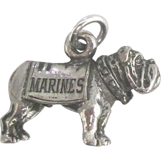 Vintage Sterling Marine Corps Mascot Dog Charm