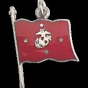 Vintage Enamel Sterling Marine Corps (USMC) Emblem Flag