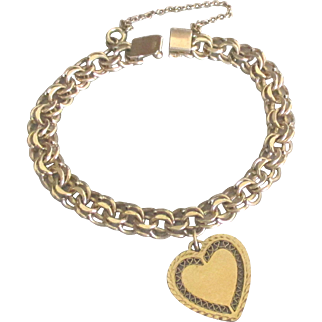 Lovely Vintage 12K Gold Filled Thick Double Link Charm Bracelet with Heart