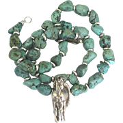 Estate Turquoise Nugget Sterling Horse Necklace