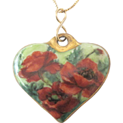 Vintage Bavarian HP Poppies Porcelain Heart Pendant and Italian Chain