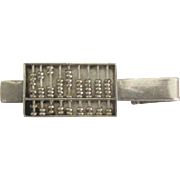 Unique Vintage Sterling Moving Abacus Tie Bar Clip