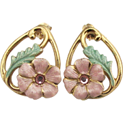 Pretty Enamel Pink Flowers Rhinestone Gold Plated Pierced Earrings