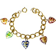 Gleaming Puffy Glass Heart Charm Bracelet