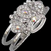 Sparkling AB Rhinestone Crown Clamper Bracelet