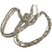 "Vintage Italian Sterling Triple Strand Twist Rope 18"" Necklace"