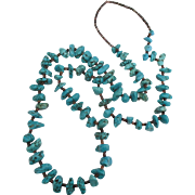 Vintage Turquoise Nugget Heishi Shell 30' Necklace
