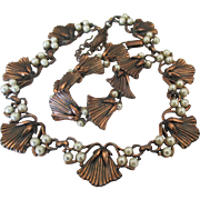 Vintage Copper Tone Faux Pearl Blossom Link Necklace and Bracelet- Demi Parure