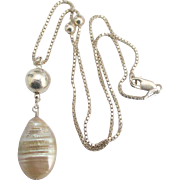 Beautiful Large Ringed Baroque Pearl Sterling Bead Pendant