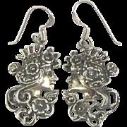Lovely Sterling Marcasite Female Profile Pierced Earrings