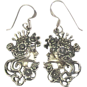 Lovely Sterling Marcasite Female Profile Pierced Earrings