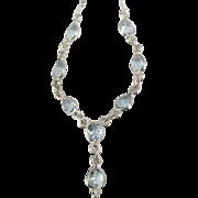 Pretty Vintage Sterling Aquamarine Tear Drop Necklace