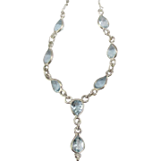 Pretty Vintage Sterling Aquamarine Tear Drop Necklace