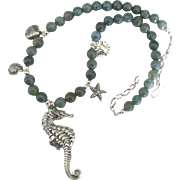 Sterling Blue Green Agate Seahorse and Shells Necklace