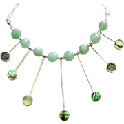 Lovely Sterling Abalone Chalcedony Bib Style Necklace
