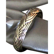 Attractive Vintage Taxco Sterling Braided Cuff Bracelet- 42 Grams