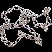 "Wonderful Italian Sterling Diamond Shaped Chain 20"" Necklace"