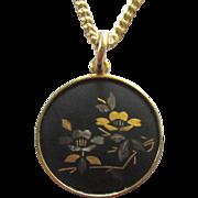 Lovely Vintage Japanese Amati Damascene Pendant with Chain