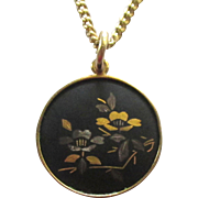 Lovely Vintage Japanese Amati Damascene Pendant with Chain