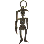 Rare Sterling Grim Reaper Skeleton Movable Charm