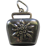 Vintage Sterling Swiss Cow Bell Charm with Edelweiss Flowers