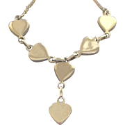 Pretty Vintage Sterling Necklace with Hearts