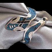 Charming Vintage Taxco Enamel Sterling Snake Ring