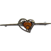 Vintage Sterling Silver Baltic Amber Heart Brooch