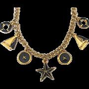 Vintage Trifari Deep Navy Gold Tone Nautical Charm Necklace