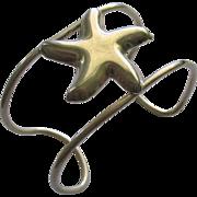 Wide Vintage Sterling Starfish Bracelet